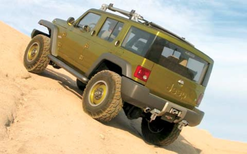 2005 Jeep Rescue Concept Rear Drivers Side View Climbing Up A Hill
