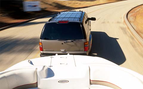 2003 Chevrolet Suburban 2500 Rear Overhead View Towing A Boat