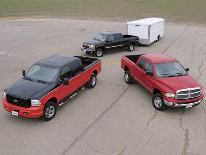 2004 Ford F250 Harley Davidson Crew Cab Three Trucks Aerial View