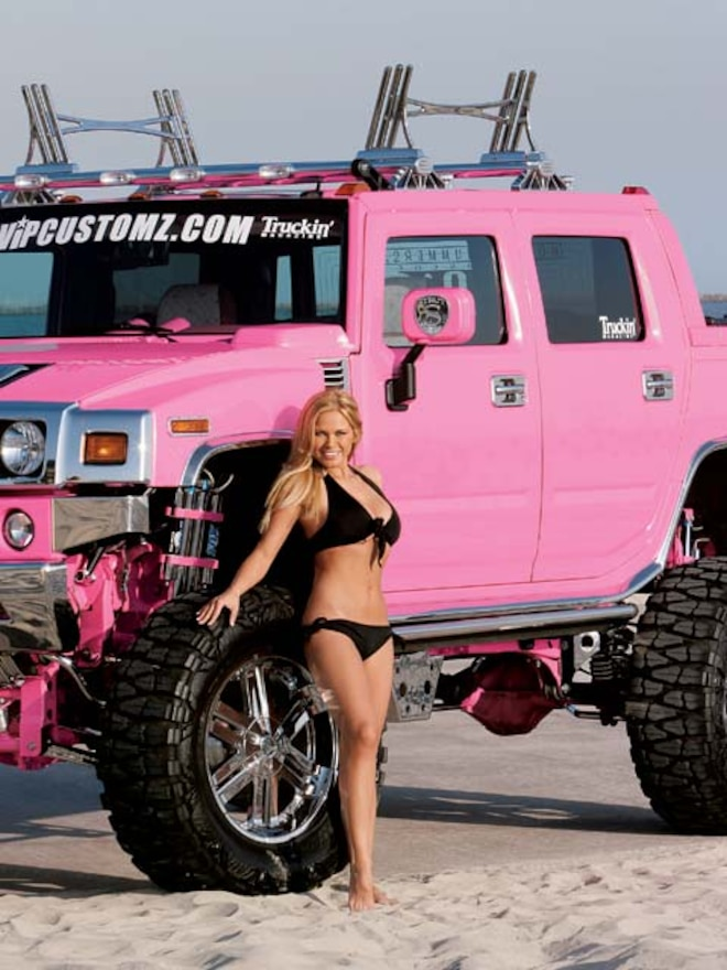 custom Pink Hummer H2 Sut side Angle View