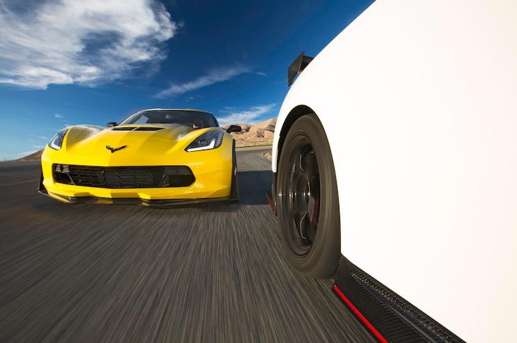 2015 Chevrolet Corvette Z06 Nissan GT R Nismo Front End In Motion 05
