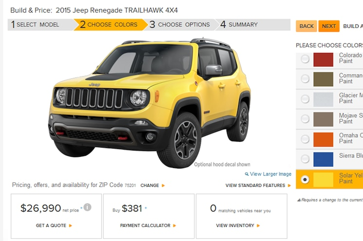Go Play With the Build and Price Tool for the 2015 Jeep Renegade