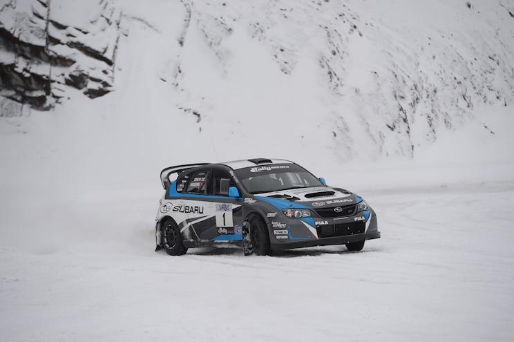 2014 Subaru WRX STI Rally America Race Car Front Three Quarters In Motion