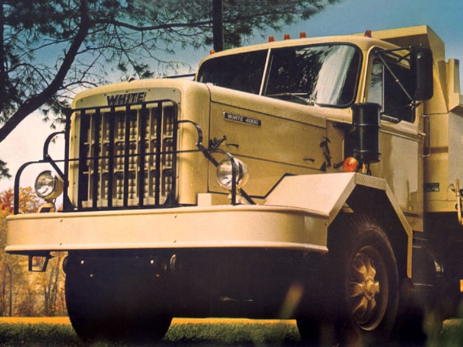 white Motors Truck front View Yellow