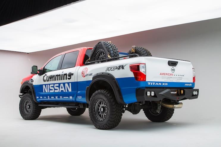 012 011 2016 Nissan Titan XD Cummins Diesel SEMA Show Truck Rear View