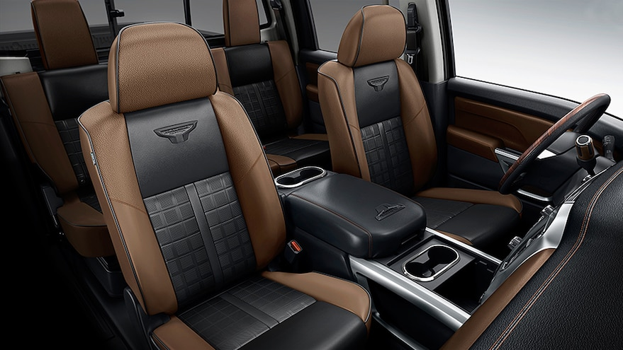 2016 Nissan Titan Platinum Reserve Black Brown Leather Seating Interior