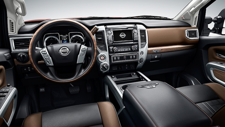 2016 Nissan Titan Platinum Reserve Interior Black Brown Leather Steering Wheel