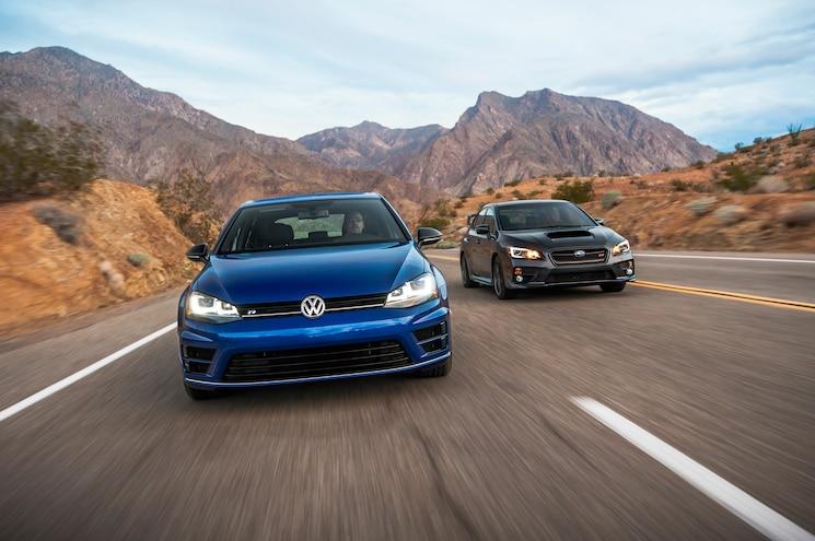 2015 Subaru WRX STI Volkswagen Golf R Front End In Motion 03