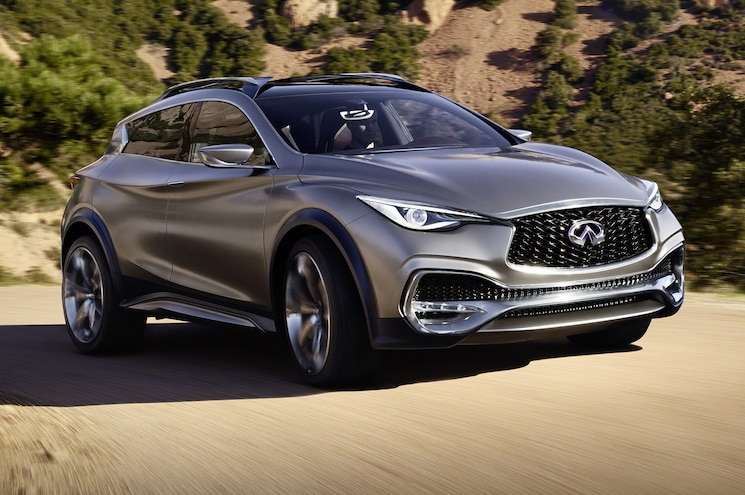 Infiniti QX30 Concept Front Side View Around Curve