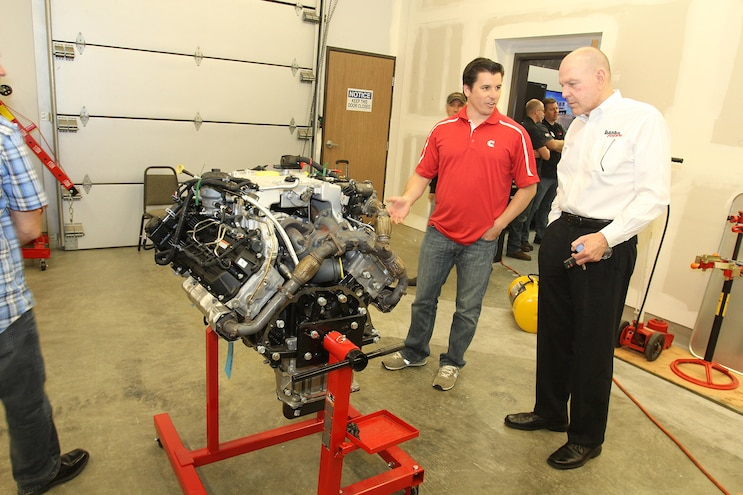 032 2016 Nissan Titan XD Cummins Diesel SEMA Measuring Session Gale Banks And Cummins Employee New 5L Cummins V8