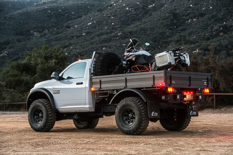 003 2015 AEV Prospector Dodge Ram 2500 Diesel With KTM 1190 Adventure R Flatbed Rear View