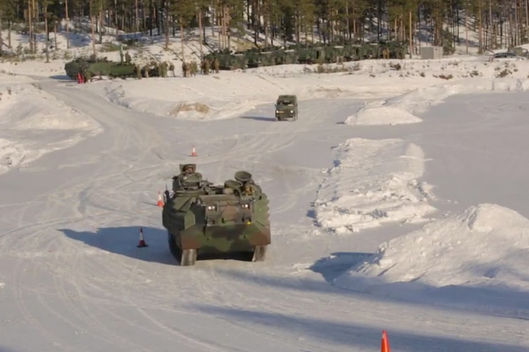 VIDEO - U.S. Marines Practice Driving AAV in Snow, End Up Drifting Instead
