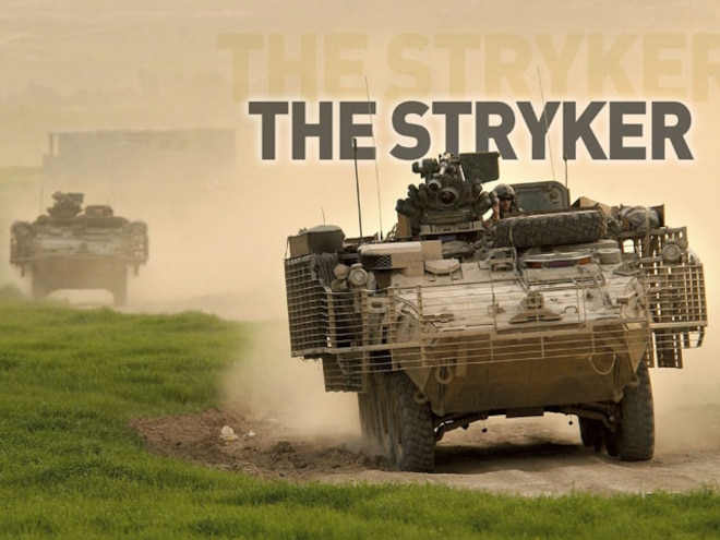 military Stryker Armored Combat Vehicle front View