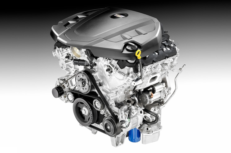 2016 Cadillac 36L Engine Black And White Background
