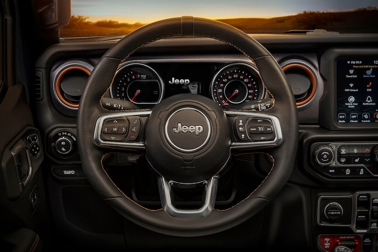 17 Jeep Gladiator Mojave Package Steering Wheel Grip Pads And Orange Bezel Surrounds