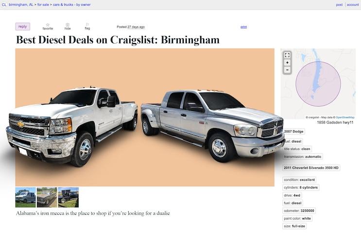 A Dually Delight: Top 5 Craigslist Diesel Trucks in Birmingham