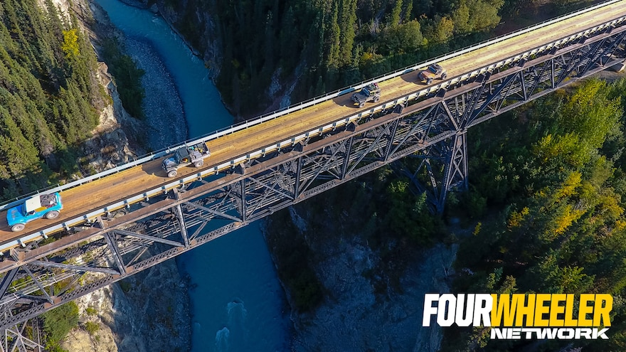012 Overhead Shot Of 4x4 Crossing Bridge In Alaska On Ultimate Adventure 2019